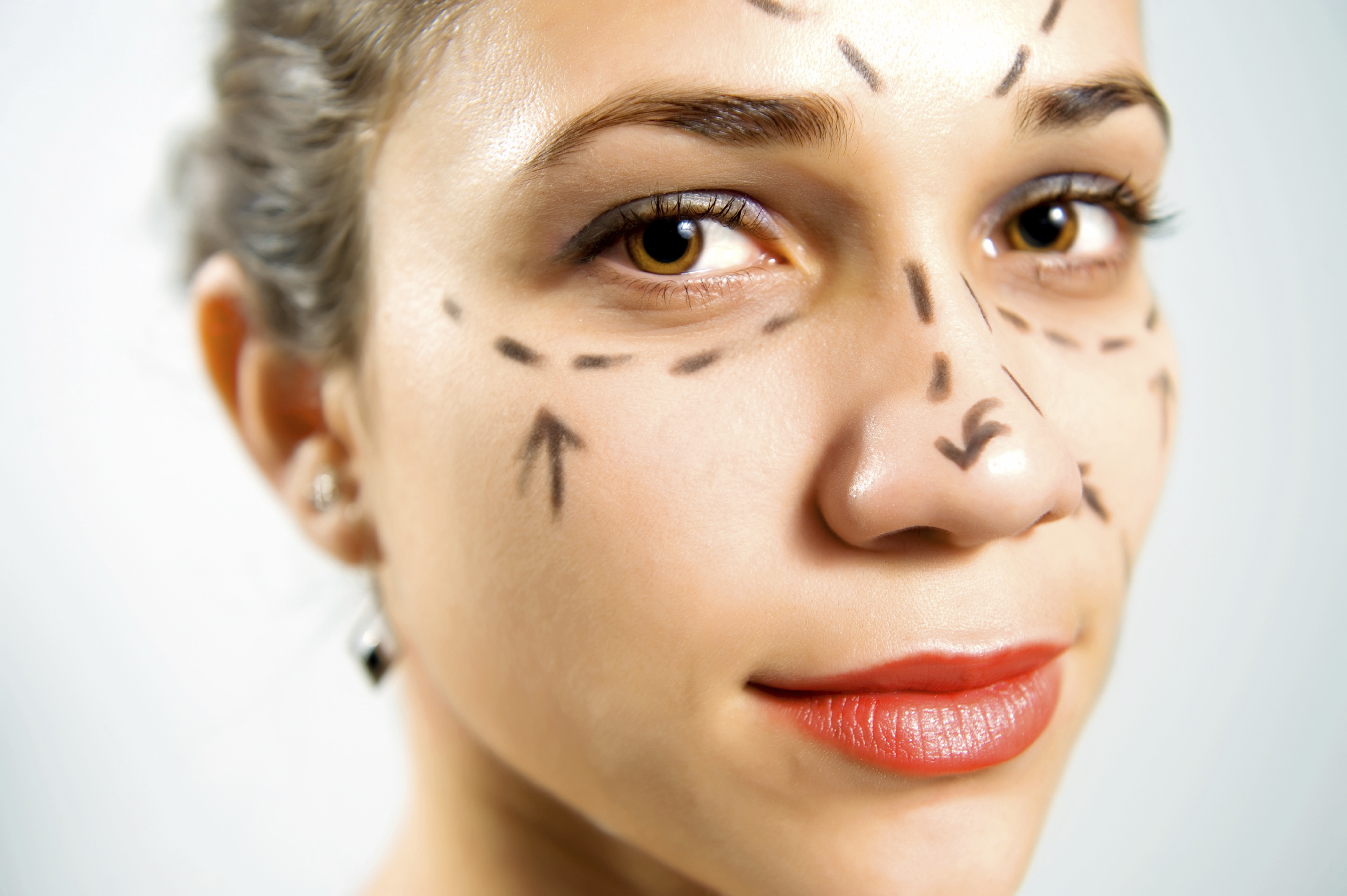 Face with lines for plastic surgery