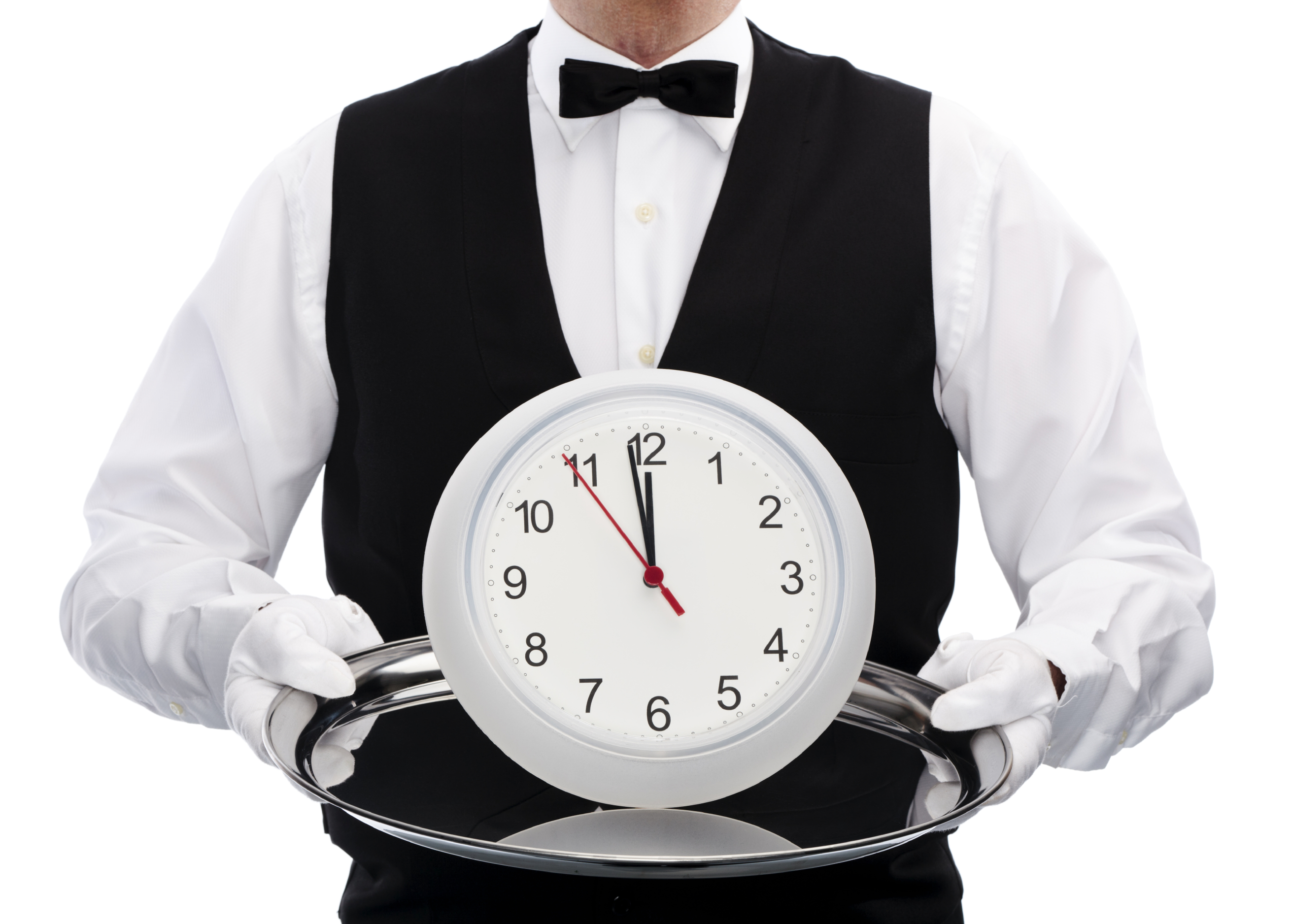 man serving clock