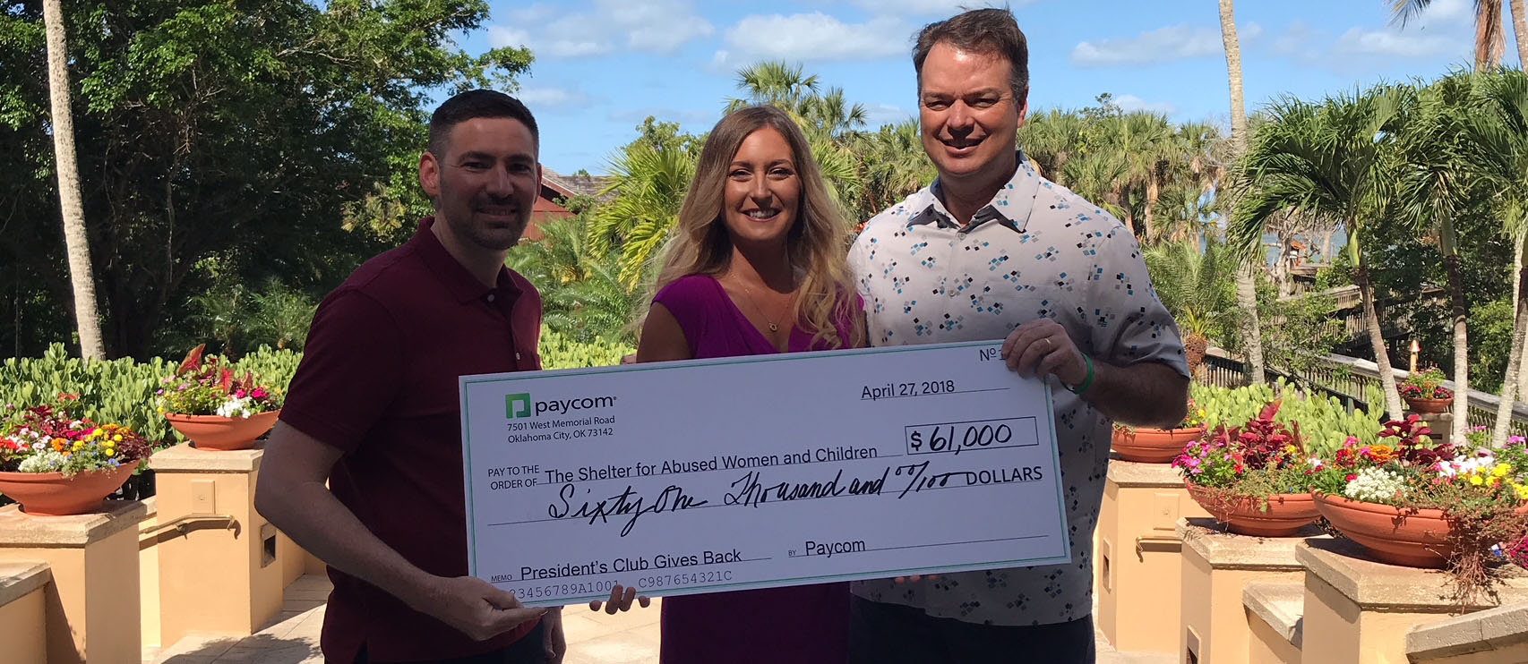 Paycom's Sales Force Raises $61,000 for The Shelter for Abused Women & Children