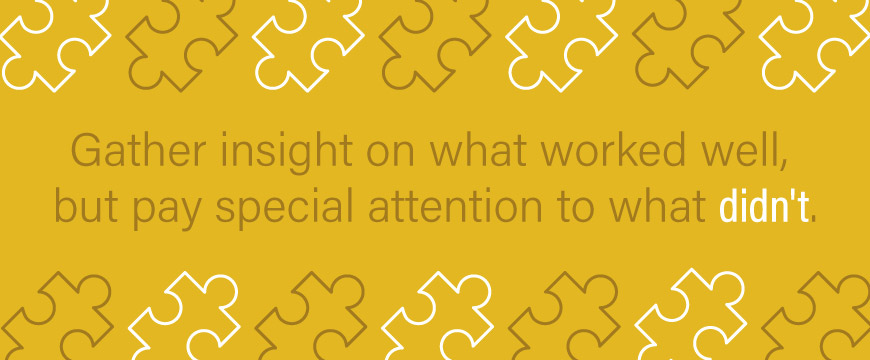 Graphic: Gather insight on what worked well, but pay special attention to what didn't.