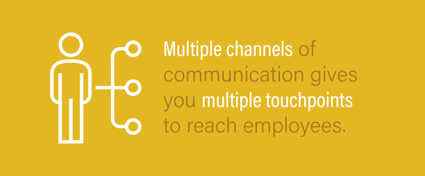 Multiple channels of communication give you multiple touchpoints to reach employees.