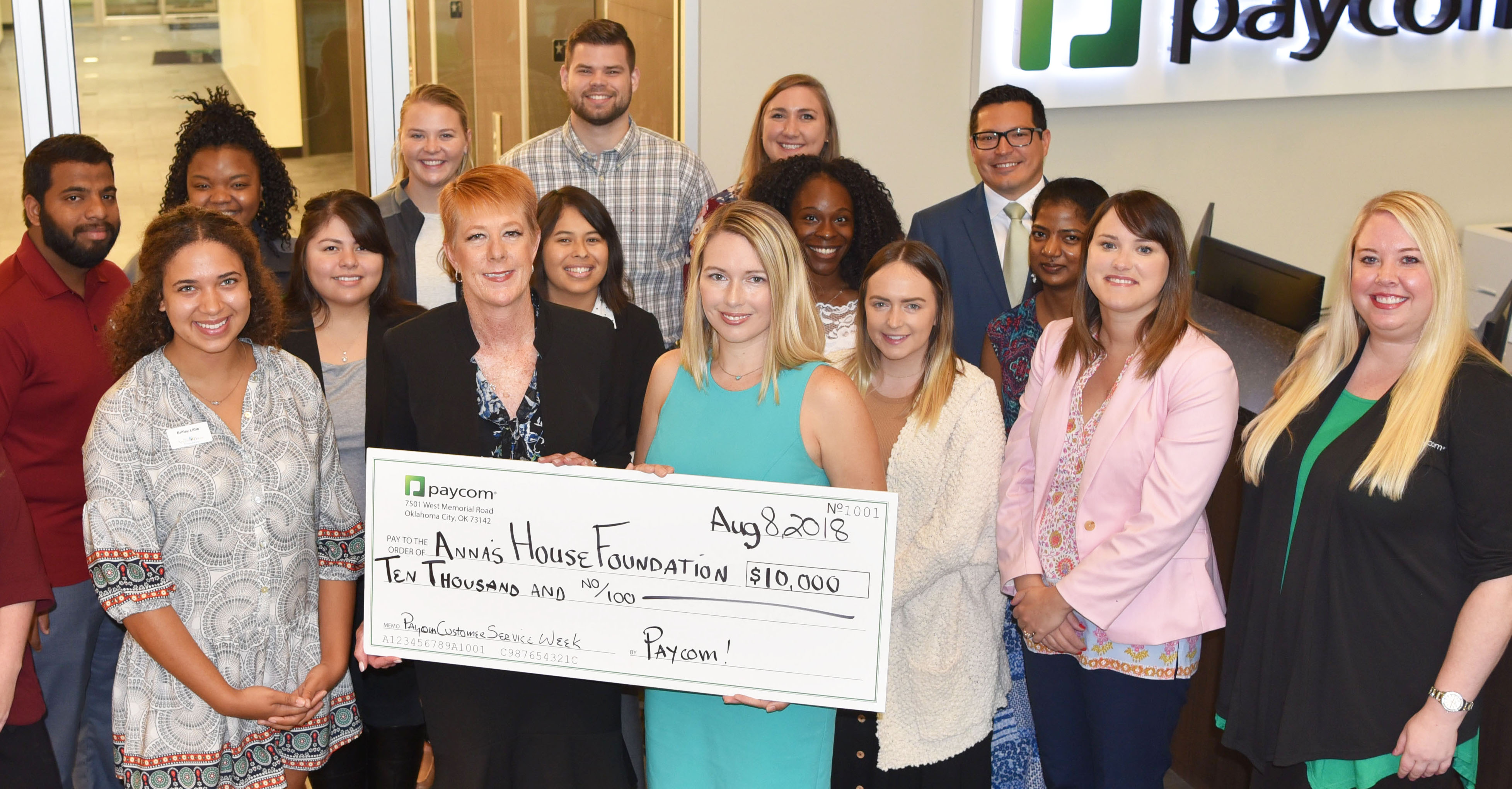 Paycom and Its Employees Donate $10,000 to Anna's House Foundation