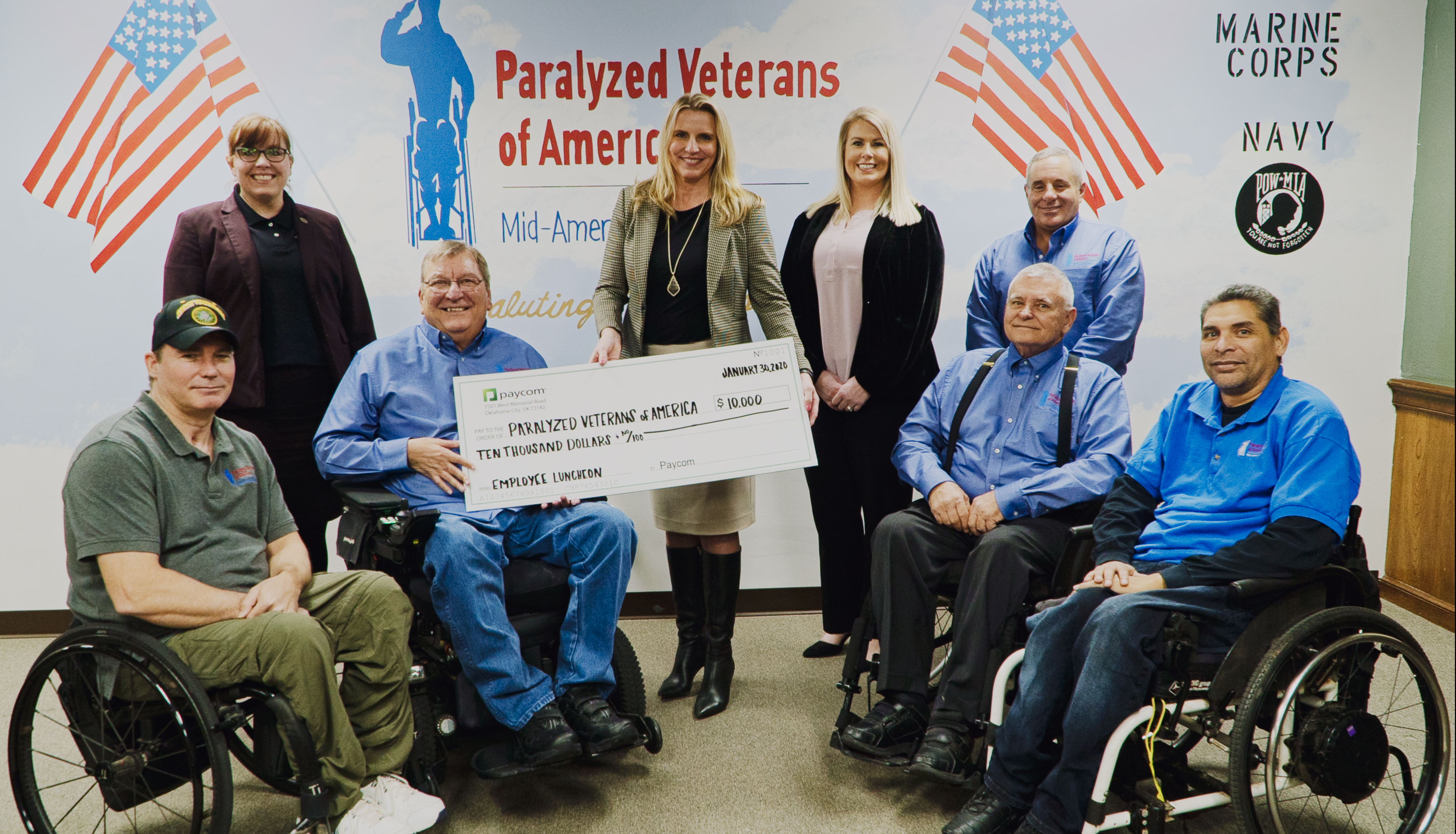 Paycom and Its Employees Donate $10,000 to Paralyzed Veterans of America