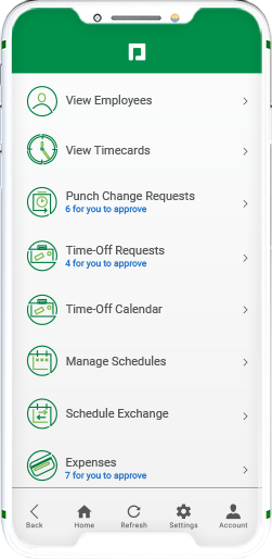 Manager on-the-Go product screen