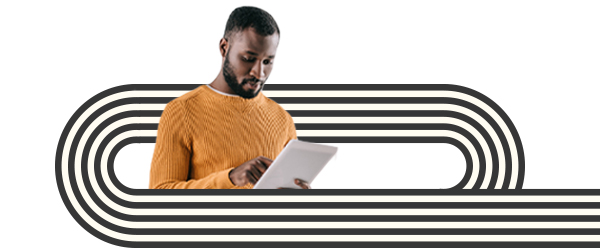 Man holding a tablet surrounded by black and white line drawings