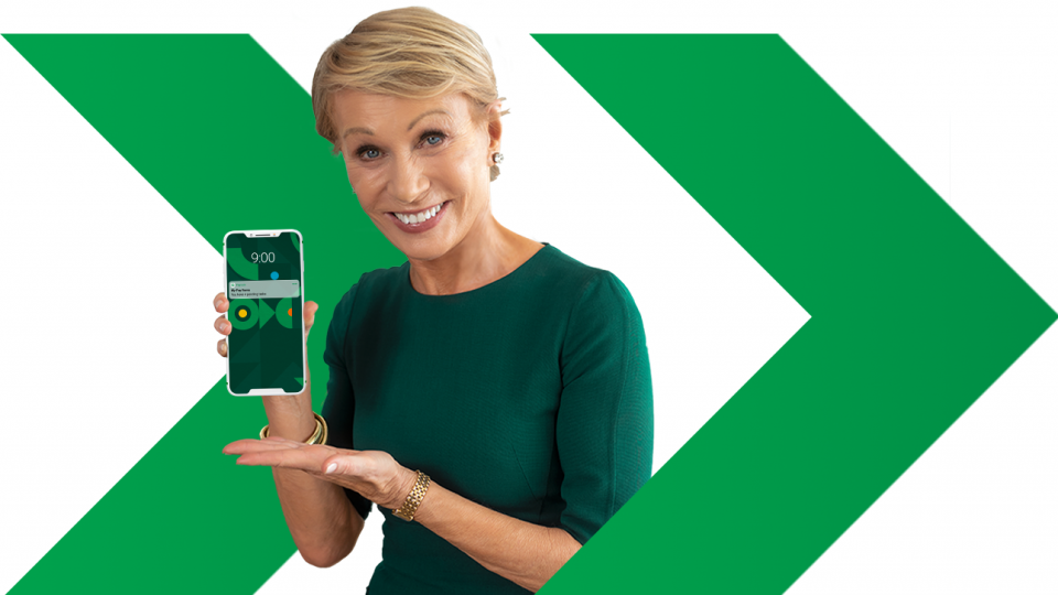 Barbara Corcoran is holding a Beti product screen