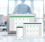 Showcasing Paycom's application on multiple devices.